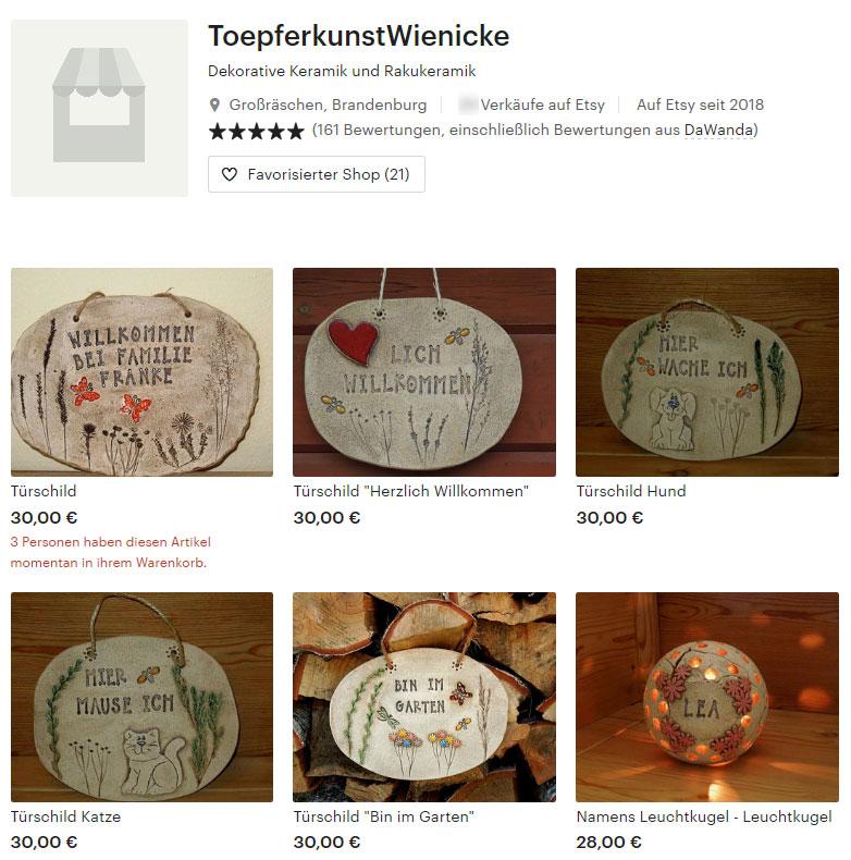 Etsy-Shop von Toepferkunst Wienicke